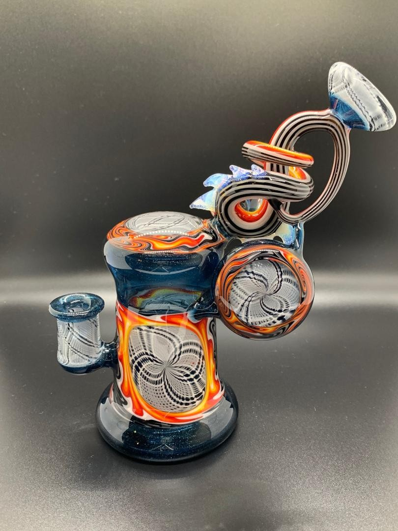 Cambria Glass Reticello Blue Stardust Masterpiece Bubbler