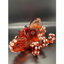 PACINI GLASS Pomegranate Black-Light/ Glow in the Dark Octopus